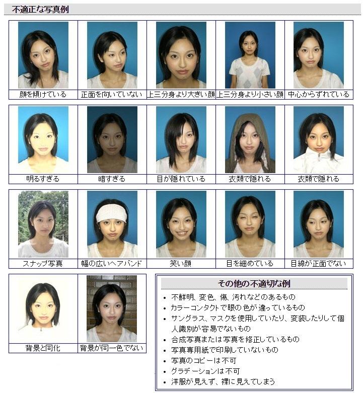 警視庁:免許証更新時の不適切な顔写真具体例