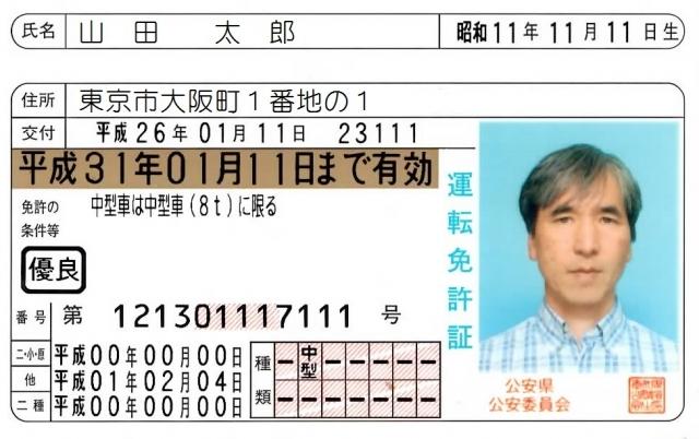 中年男性運転免許証の例