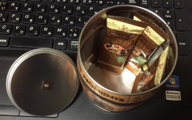 コーヒー缶を開封した状態